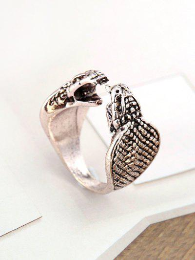 Retro Two-headed Snake Open Ring - Platinum