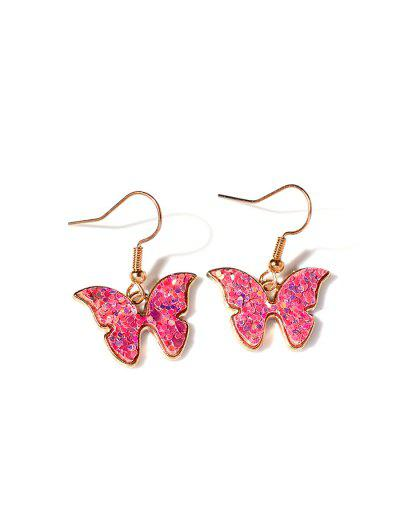 Butterfly Sequins Drop Earrings - Light Pink