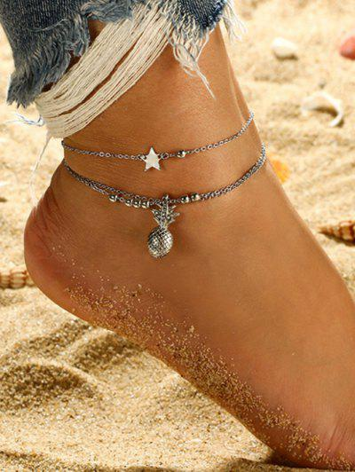2Pcs Star Pineapple Beads Layered Anklet Set - Silver