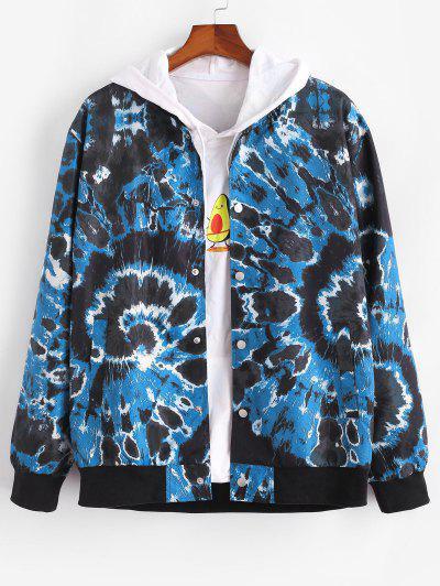 Veste Teintée Tourbillon Imprimée Avec Bouton Pression - Bleu S