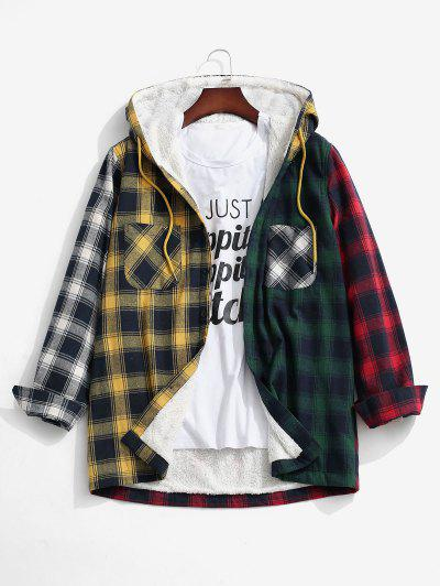 Colorblock Plaid Pocket Fluffy Hooded Shirt Jacket - Yellow L