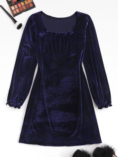 Frilled Velvet Ruched Long Sleeve Dress - Deep Blue M