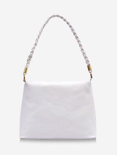 Braided Strap Square Solid Handbag - Milk White