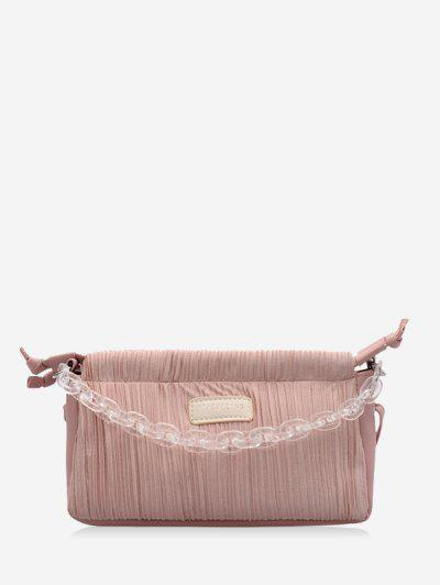 Chain Pleated Shoulder Bag - Pig Pink