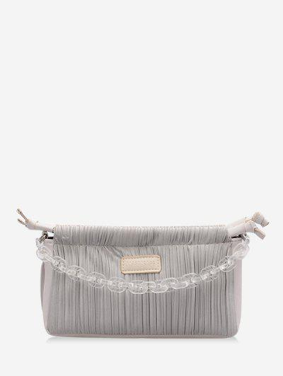 Chain Pleated Shoulder Bag - Gray Goose