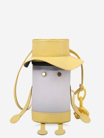 Cartoon Cylinder Crossbody Bag - Sun Yellow