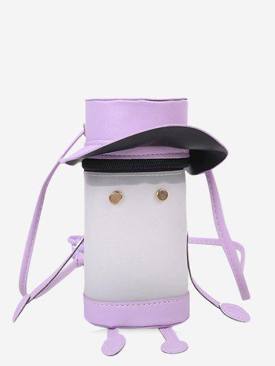 Cartoon Cylinder Crossbody Bag - Mauve