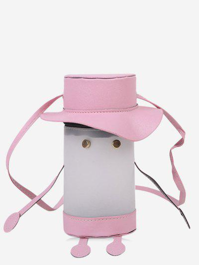 Cartoon Cylinder Crossbody Bag - Pig Pink