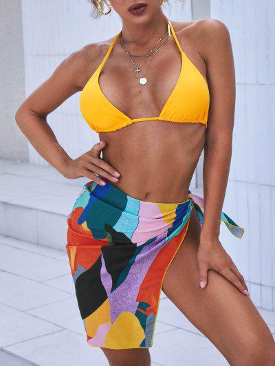ZAFUL Printed Colorblock Three Piece Tanga Bikini Swimwear - Yellow S