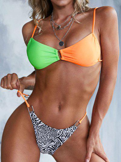 ZAFUL Rectangle Rings Animal Print Colorblock Tanga Bikini Swimwear - Multi L