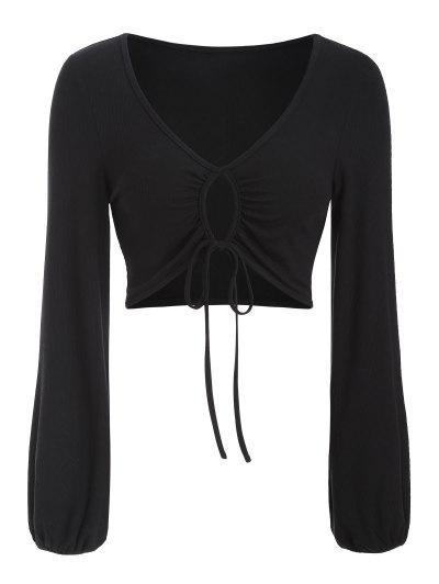 ZAFUL Ribbed Keyhole Drawstring Crop T Shirt - Black S