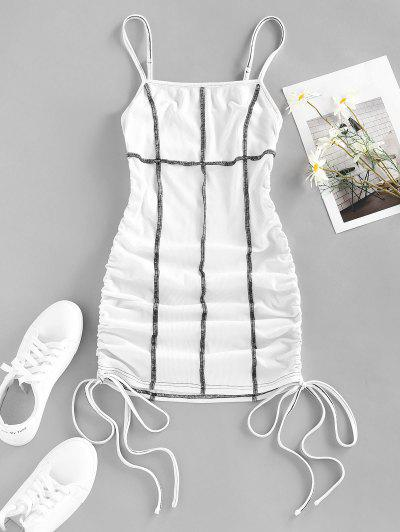 ZAFUL Ribbed Topstitch Cinched Tie Ruched Dress - White L