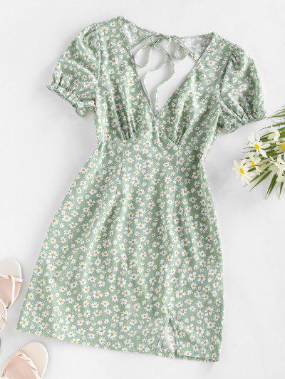 ZAFUL Daisy Floral Cutout Tie Slit Dress - Light Green L