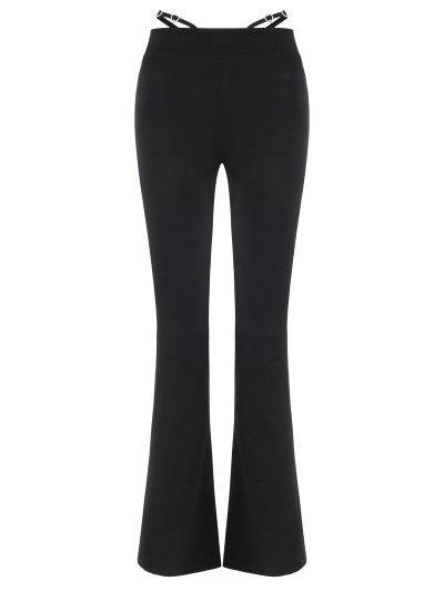 Pantalones Botas Adorno Brillantes Y Cinto - Negro L