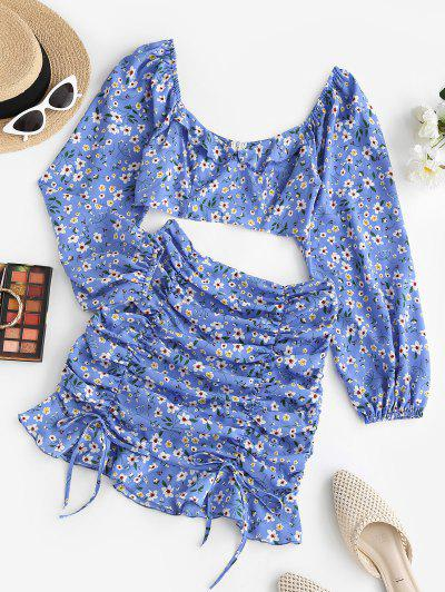 ZAFUL Floral Ruched Tie Ruffle Two Piece Dress Set - Blue S