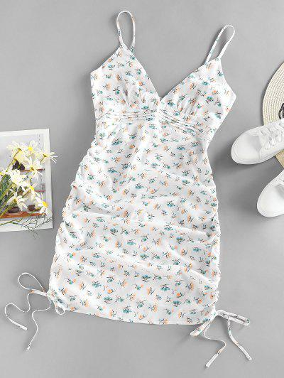 ZAFUL Ditsy Floral Ruched Pintuck Cami Dress - White S