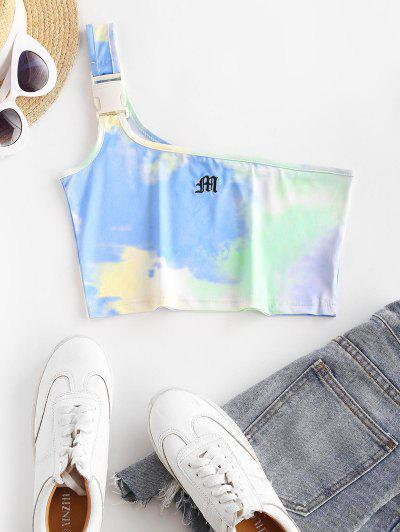 One Shoulder Tie Dye Letter Embroidered Buckled Crop Top - Multi S