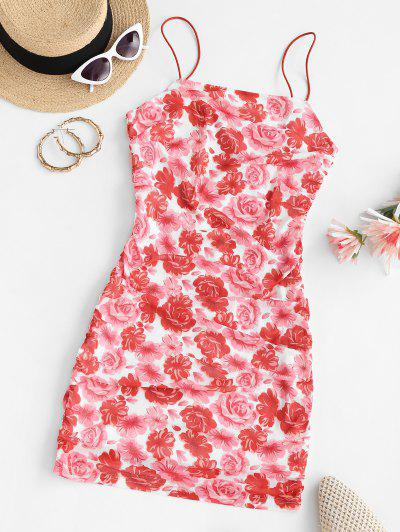 ZAFUL Mesh Flower Ruched Bodycon Dress - Red S