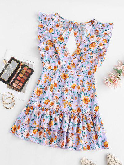 ZAFUL Floral Layered Flounce Ruffle Surplice Dress - Purple S