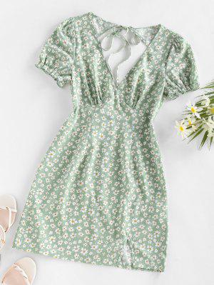 zaful ZAFUL Daisy Floral Cutout Tie Slit Dress