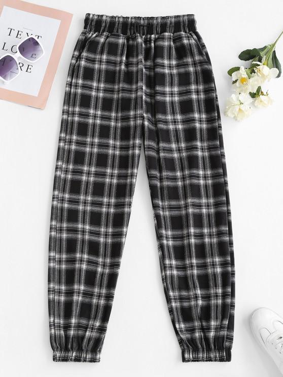 fancy Toggle Drawstring Plaid Pockets Pants - BLACK L