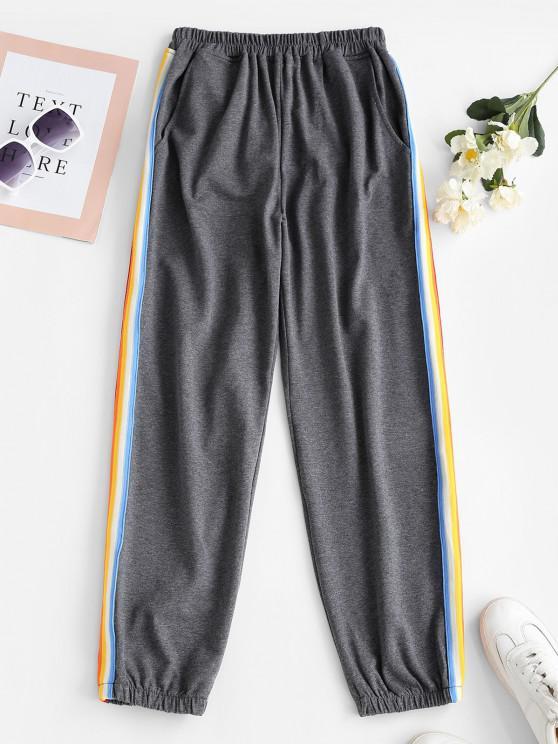 unique Side Striped Jogger Sweatpants - GRAY L