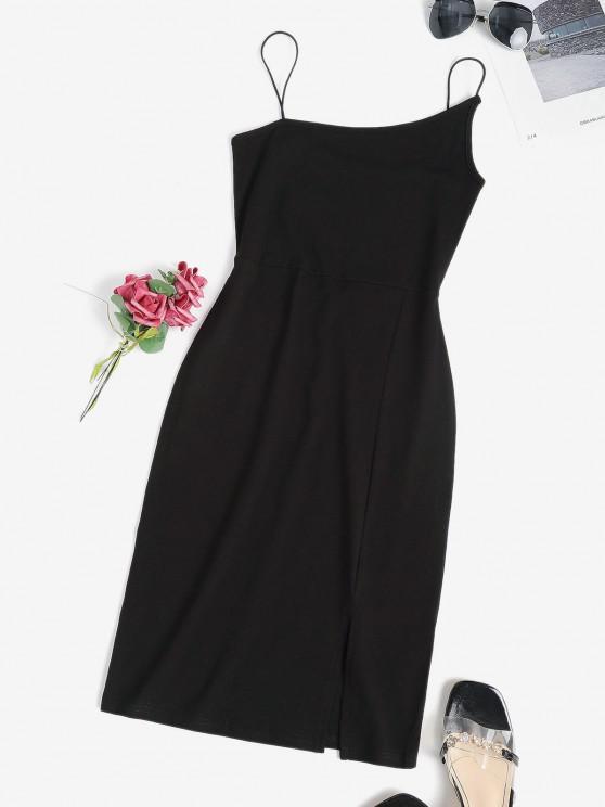 womens Bungee Strap Slinky Slit Bodycon Dress - BLACK S