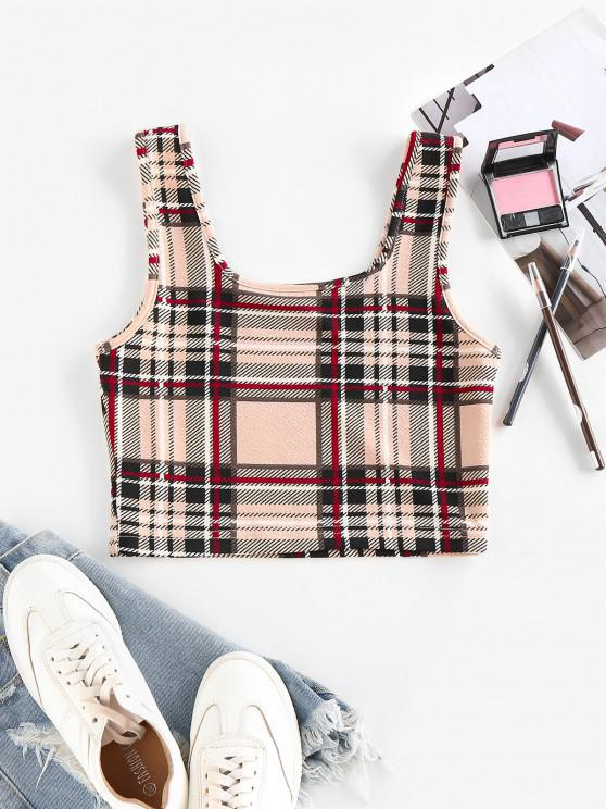 chic ZAFUL Plaid U Neck Crop Tank Top - LIGHT COFFEE S