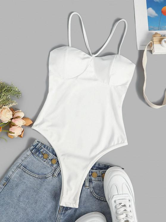 Padded Cups Snap Crotch Bustier Bodysuit - أبيض S