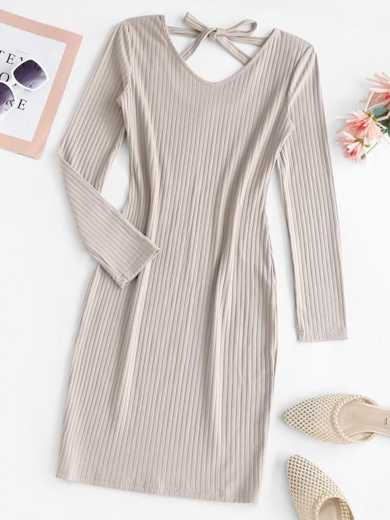 Ribbed Tie Back Long Sleeve Bodycon Dress - القهوة الخفيفة M
