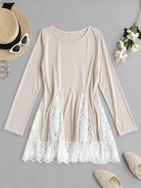 hot Flower Lace Insert Colorblock Mini Dress - LIGHT COFFEE S
