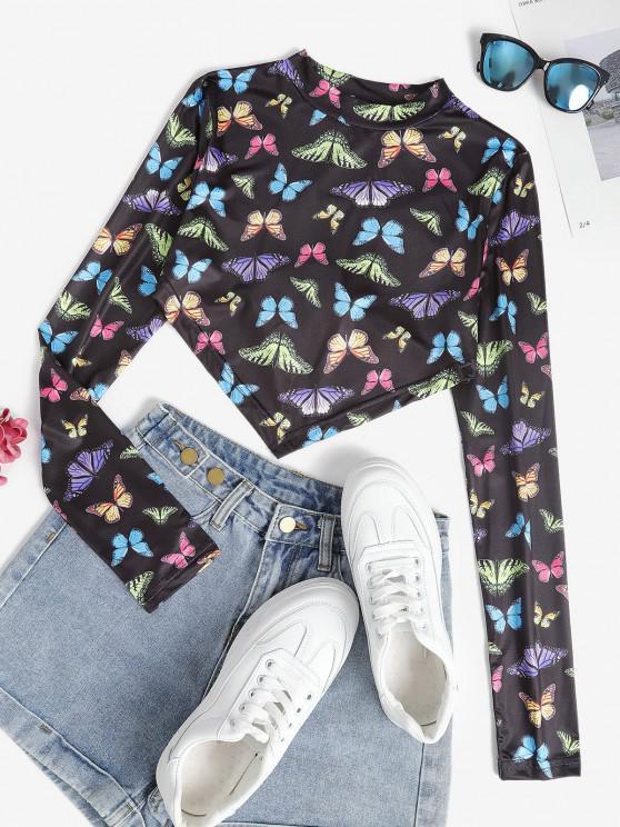 hot Mock Neck Butterfly Print Back Tie Crop Top - MULTI M
