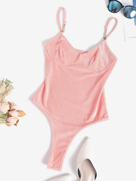 hot Metal Embellish Ribbed Velvet Bustier Bodysuit - LIGHT ORANGE S