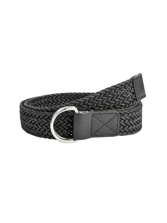 Double Ring Braided Belt - أسود