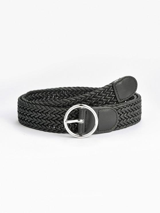 hot Round Pin Buckle Braid Belt - BLACK