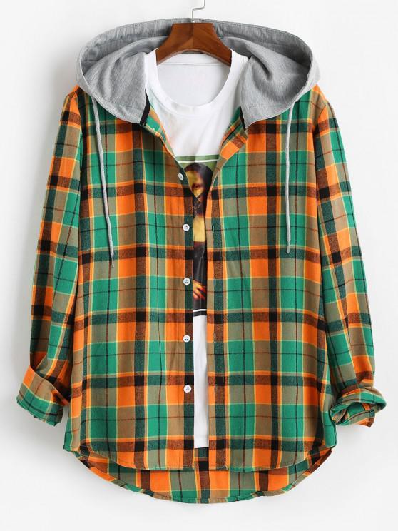 shop Hooded Plaid Print High Low Shirt - ORANGE L