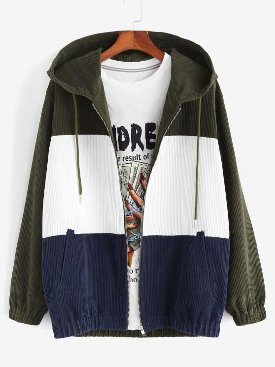 affordable Hooded Drawstring Contrast Corduroy Jacket - DEEP GREEN M