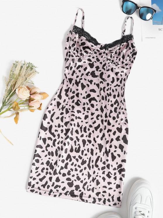 best Leopard Slinky Lace Trim Bodycon Slip Bustier Dress - LIGHT PINK M