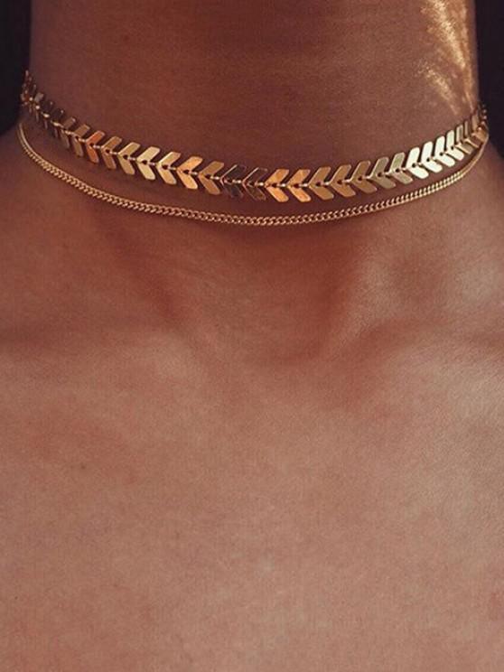 women's Herringbone Layers Choker Necklace - GOLDEN