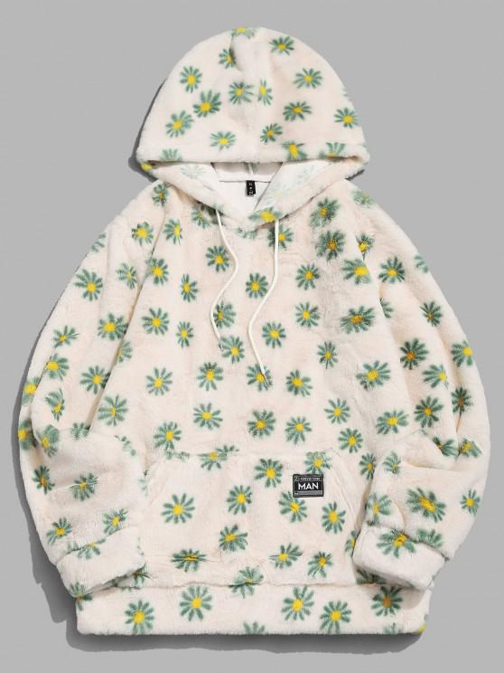 Fluffy Daisy Pattern Hoodie - أصفر فاتح XL