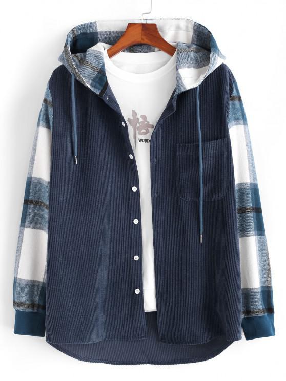 chic Hooded Plaid Print Button Up Corduroy Jacket - DEEP BLUE XL