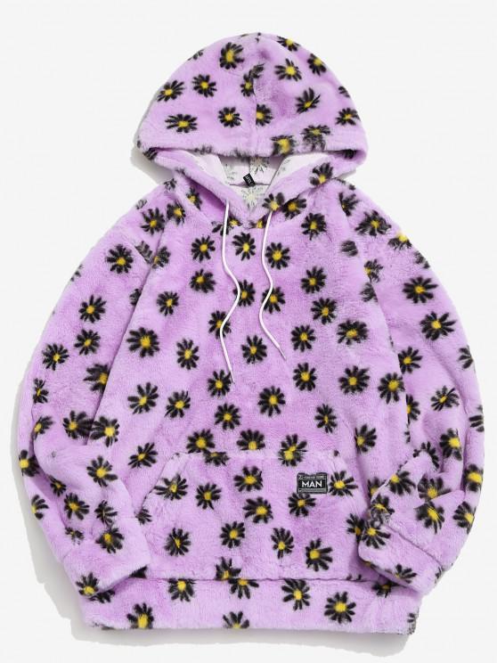 shop Fluffy Daisy Pattern Hoodie - LIGHT PURPLE XL