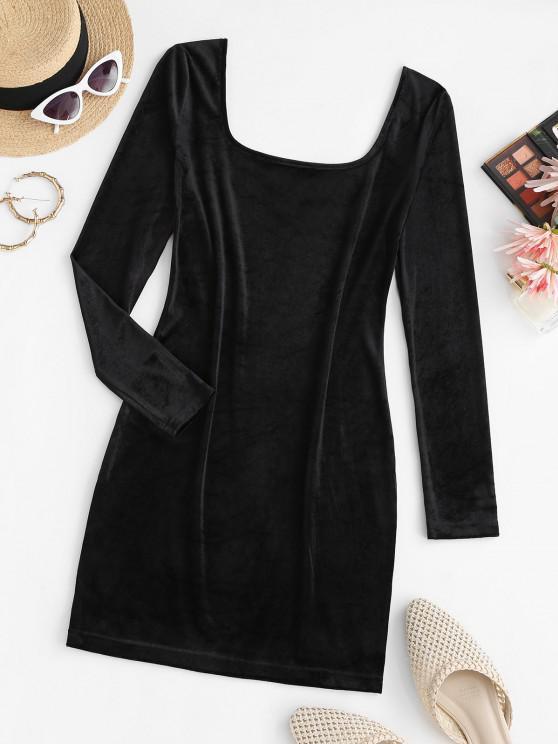 U Neck Velvet Sheath Long Sleeve Dress - أسود S