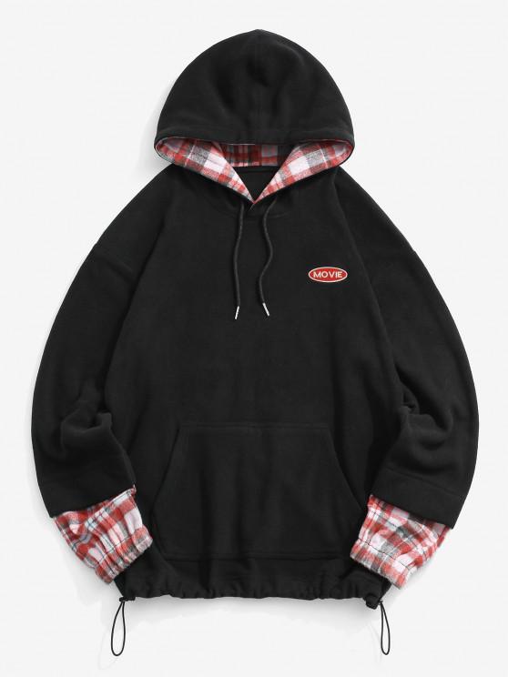 Letter Embroidered Plaid Pattern Fleece Hoodie - أسود XL