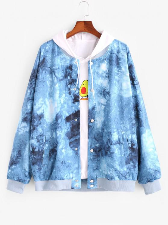 outfit Tie Dye Print Button Up Jacket - BLUE M