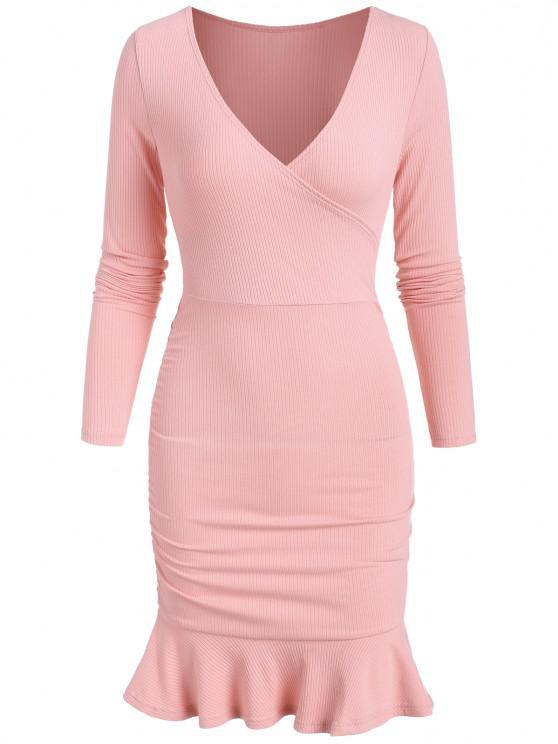 chic Rib-knit Ruched Flounce Slinky Surplice Dress - LIGHT PINK S