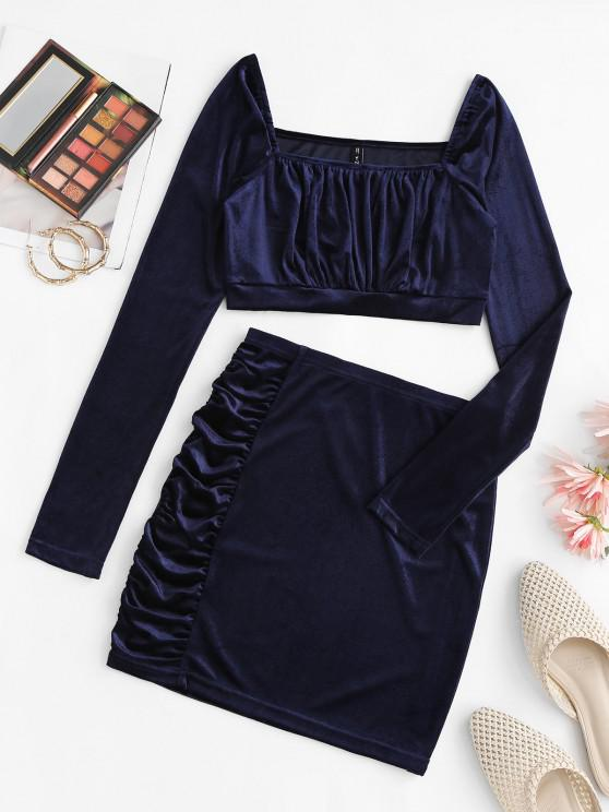 fashion Ruched Velvet Square Neck Bodycon Skirt Set - DEEP BLUE M