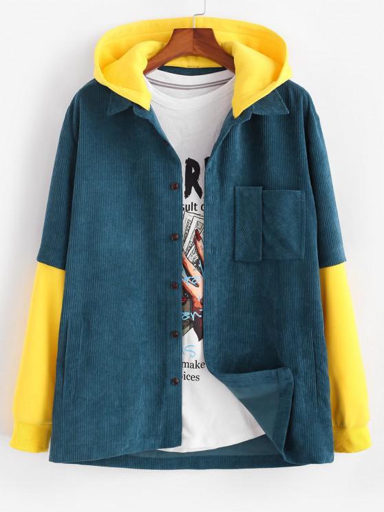 Hooded Doctor Sleeve Faux Twinset Corduroy Jacket - أزرق M