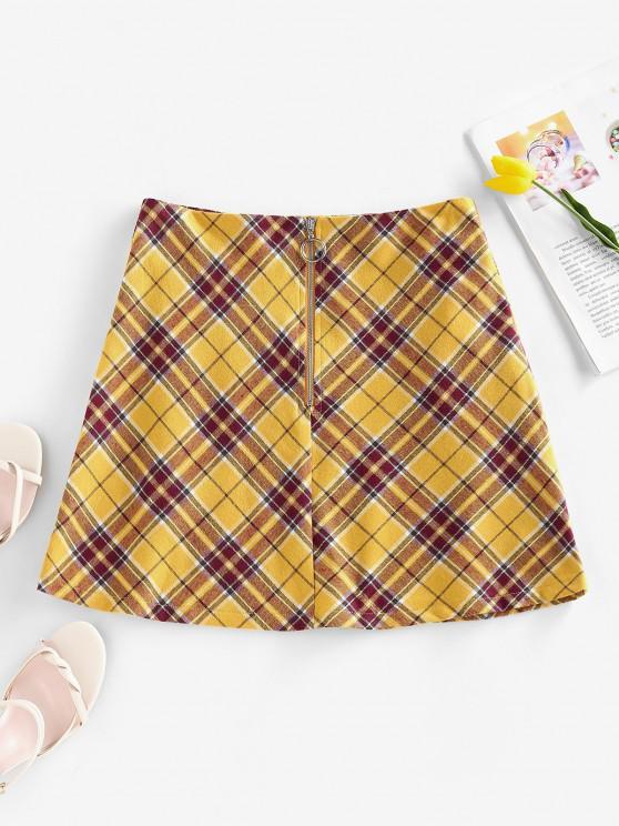 ZAFUL Mini Falda a Cuadros con Cremallera Frontal - Amarillo S