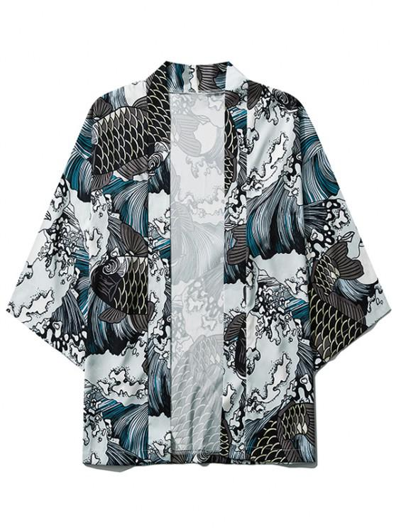Sea Waves Koi Fish Open Front Kimono Cardigan - اللون الرمادي 2XL